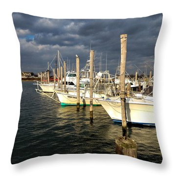 Boats At Galilee Throw Pillow