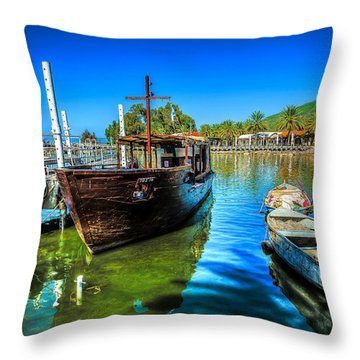 Boats At Kibbutz On Sea Galilee Throw Pillow