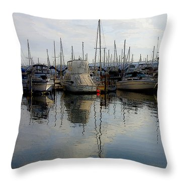 Throw Pillow featuring the photograph Boats At Marina On Liberty Bay by Greg Reed