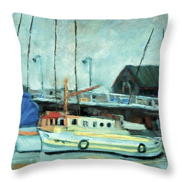 Boats At Provincetown Ma Throw Pillow