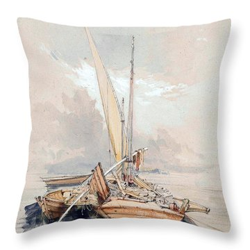 Boats At Quayside Lake Geneva Throw Pillow by James Holland