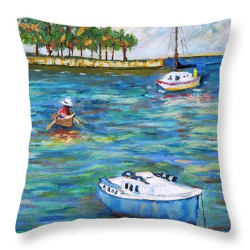 Boats At St Petersburg Throw Pillow
