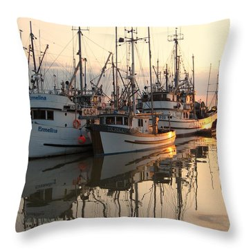 Boats At Steveston Harbour  Throw Pillow by Shirley Sirois
