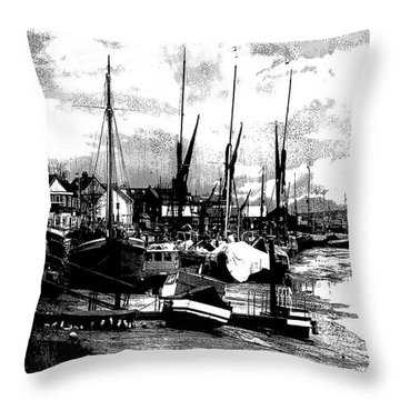 Throw Pillow featuring the digital art Boats At Sundown  by Fine Art By Andrew David
