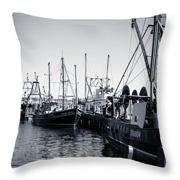 Boats At The Pier  Throw Pillow by Brian Caldwell