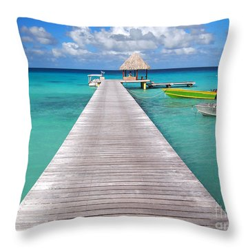 Boats At The Jetty In A Tropical Turquoise Lagoon Throw Pillow