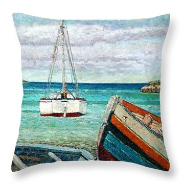 Boats By The Bay Throw Pillow