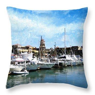 Boats Cabo San Lucas Throw Pillow by Ann Powell