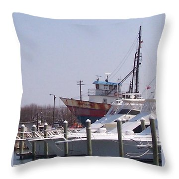 Boats Docked Throw Pillow by Pharris Art