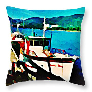 Boats Docked Throw Pillow