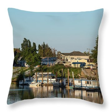Boats In A River, Walnut Grove Throw Pillow