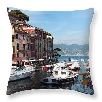 Boats In An Italian Harbor Throw Pillow