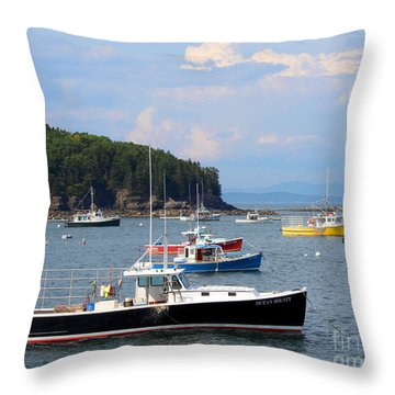 Boats In Bar Harbor Throw Pillow