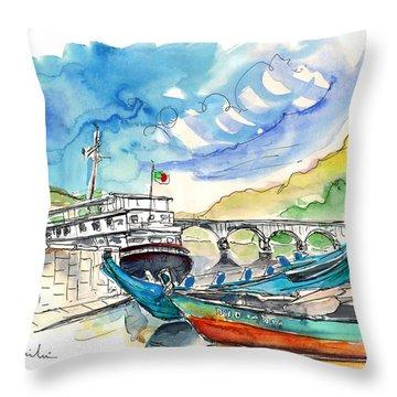 Boats In Barca De Alva 02 Throw Pillow