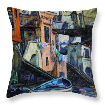 Throw Pillow featuring the painting Boats In Front Of The Buildings I  by Xueling Zou