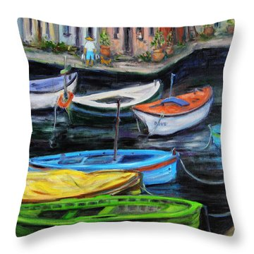 Throw Pillow featuring the painting Boats In Front Of The Buildings II by Xueling Zou