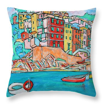 Boats In Front Of The Buildings X Throw Pillow