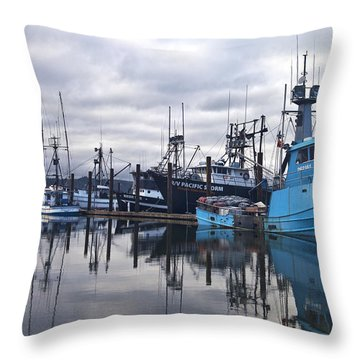 Boats In Harbor Newport Oregon Throw Pillow