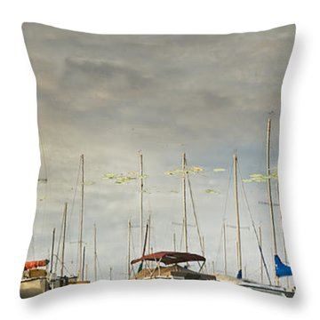 Throw Pillow featuring the photograph Boats In Harbor Reflection by Peter v Quenter