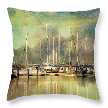 Boats In Harbour Throw Pillow