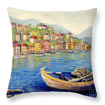 Boats In Italy Throw Pillow by Lou Ann Bagnall