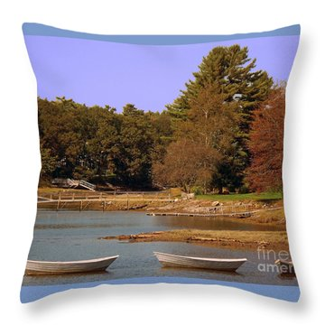 Throw Pillow featuring the photograph Boats In Kennebunkport by Gena Weiser