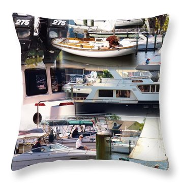 Boats In Motion 1 Throw Pillow