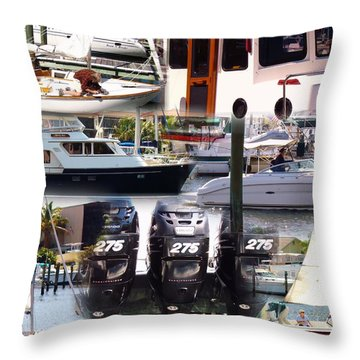 Boats In Motion 2 Throw Pillow