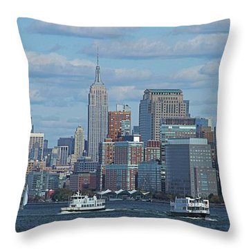Boats In New York City Throw Pillow