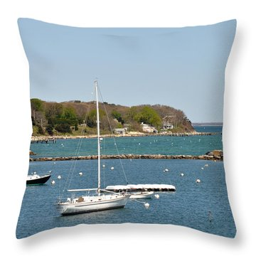 Boats In Oak Bluffs Harbor Marthas Vineyard Throw Pillow by Diane Lent