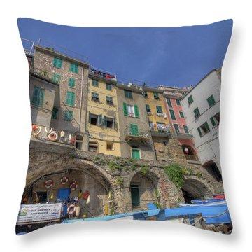 Boats In Riomaggiore Throw Pillow
