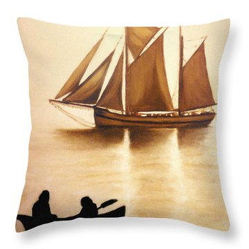 Throw Pillow featuring the painting Boats In Sun Light by Janice Dunbar