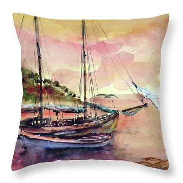 Boats In Sunset  Throw Pillow