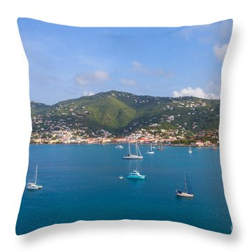 Boats In The Bay Throw Pillow