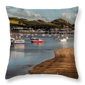 Boats In The Harbour Throw Pillow