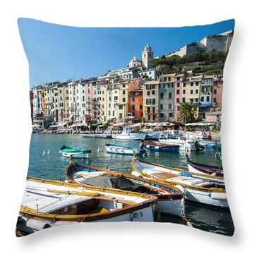 Boats In The Portovenere Harbor 3 Throw Pillow