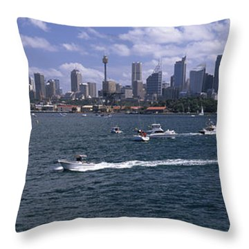 Boats In The Sea, Sydney Harbor Throw Pillow