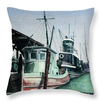 Throw Pillow featuring the painting Boats by Joey Agbayani