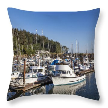 Throw Pillow featuring the photograph Boats Moored At Charleston Marina by Bryan Mullennix