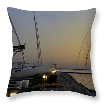 Boats Moored To Pier At Sunset Throw Pillow