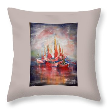 Boats Throw Pillow by Nahed Ismaeil