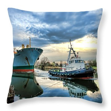 Boats On A Canal Throw Pillow