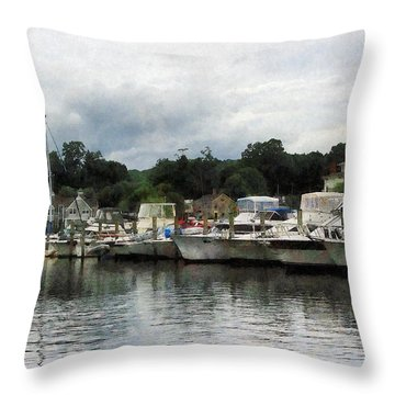 Boats On A Cloudy Day Essex Ct Throw Pillow by Susan Savad