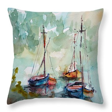 Throw Pillow featuring the painting Boats On Lake  by Faruk Koksal