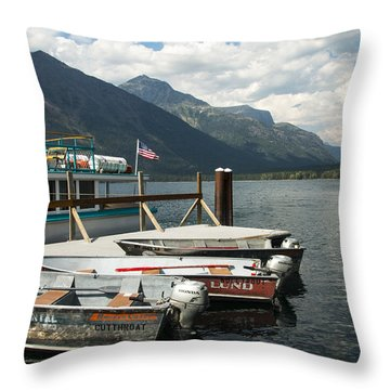 Boats On Lake Mcdonald Throw Pillow by Nina Prommer