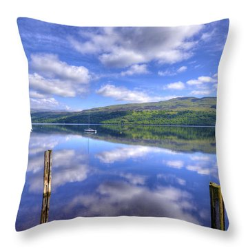 Boats On Loch Tay Throw Pillow