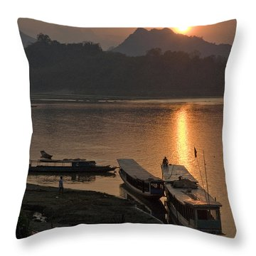 Boats On River By Luang Prabang Laos  Throw Pillow