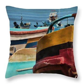 Boats On The Beach - Puerto Lopez - Ecuador Throw Pillow