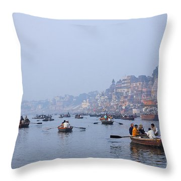 Boats On The River Ganges At Varanasi In India Throw Pillow by Robert Preston