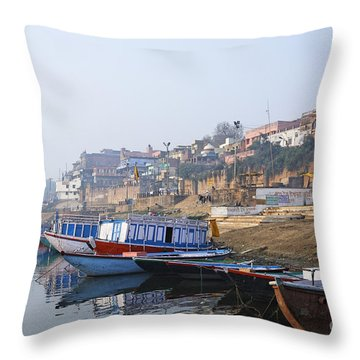 Boats On The River Ganges Varanasi Throw Pillow by Robert Preston